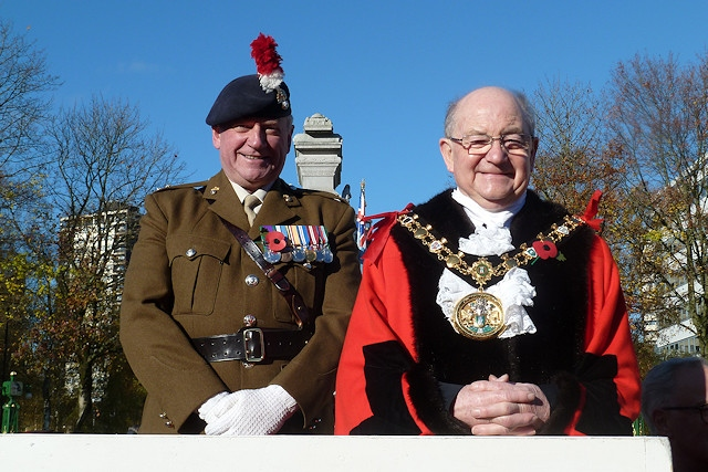 Mayor Billy Sheerin with Lieutenant Corporal David Cook (left) at Rochdale's Remembrance Sunday Service