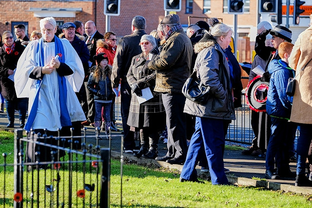 A Reverend and part of the gathering - Castleton Remembrance Sunday 2019