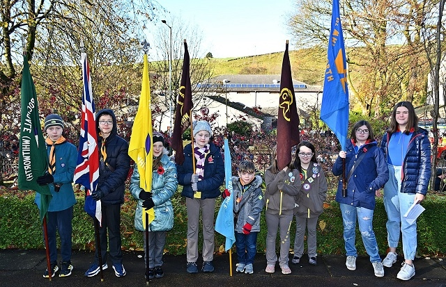 Flag bearers at Whitworth Remembrance procession