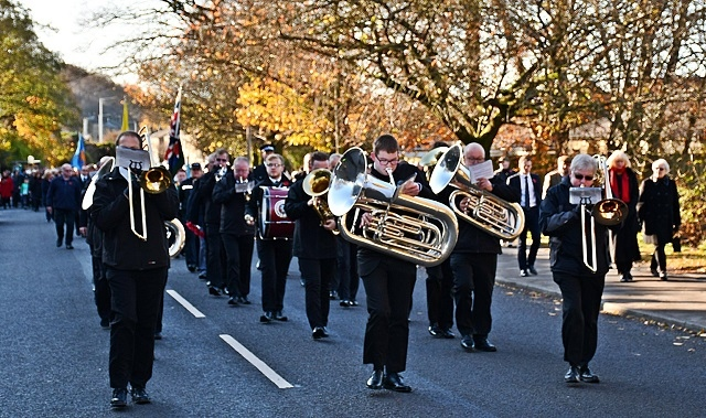 Whitworth Remembrance procession led by Whitworth's Vale and Healey Brass Band