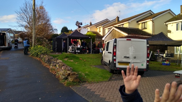 Filming scenes on Shelfield Lane in Norden
