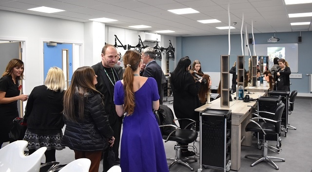 Guests visit students' live workshops in the new Hair and Beauty training centre at Hopwood Hall College