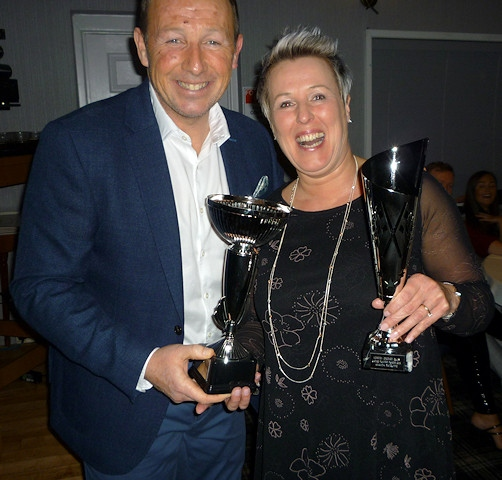 Ladies' players' of the year Amanda Ratcliffe with Robert Croft