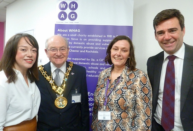 Hazel Waddington, Rochdale Mayor Billy Sheerin, Kirsty Rhodes and Metro Mayor Andy Burnham at the new office opening