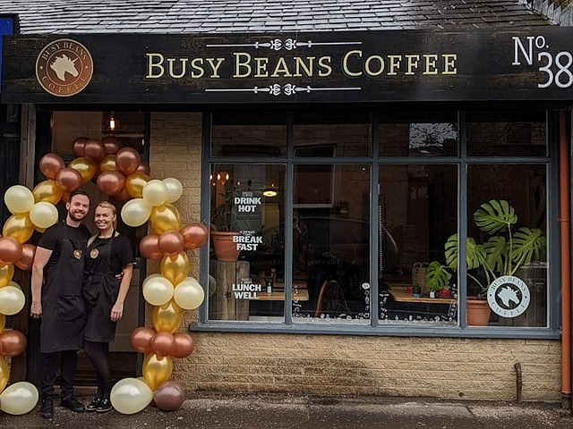 Becky and Danny O'Neill outside Busy Beans
