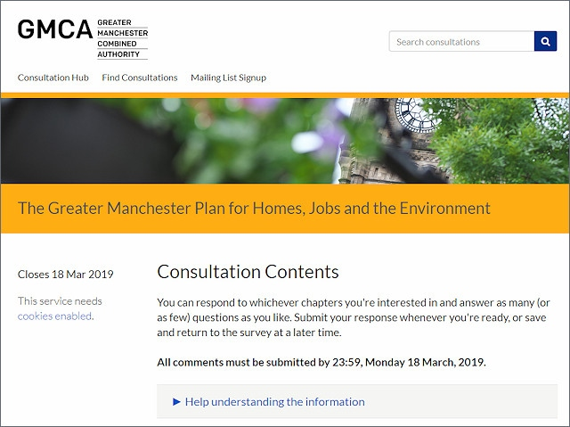 Online consultation for the Greater Manchester Spatial Framework
