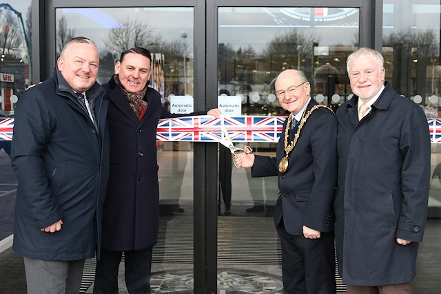 Mayor Billy Sheerin cuts the ribbon alongside council leader Allen Brett and the Trade Centre UK's founder, Mark Bailey, and CEO Andrew Coulthurst
