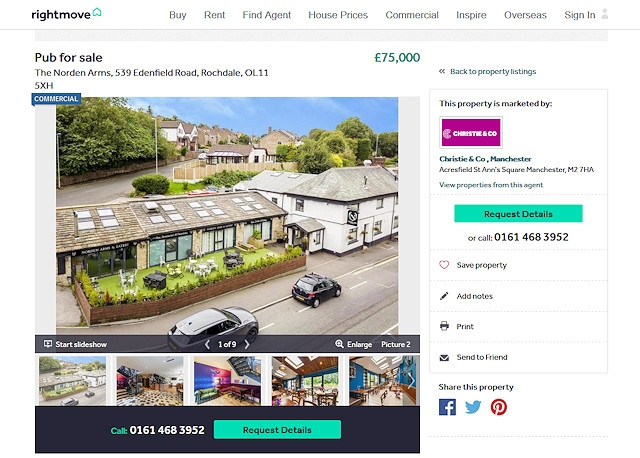 The Norden Arms was listed for just a fraction of the intended asking price via RightMove