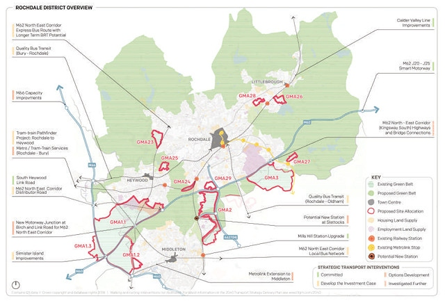 Rochdale under the second draft plans for the Greater Manchester Spatial Framework