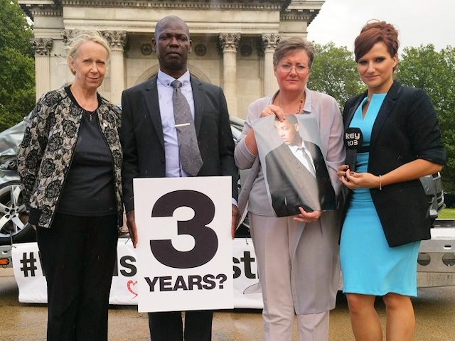 Liz McInnes MP pictured in 2016 at an event in Westminster to highlight the injustice of Joseph Brown-Lartey�s killer receiving only six years, serving three. Liz is pictured with Ian and Dawn Brown-Lartey and campaigning journalist Michelle Livesey