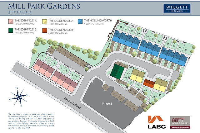 Site plan for Mill Park Gardens, Hare Hill Road, Littleborough