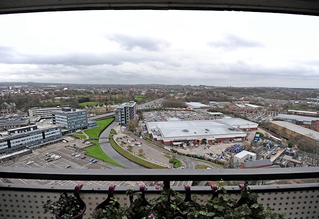 View from Seven Sisters tower block towards Rochdale Sixth Form College, Hopwood Hall College and Touchstones Museum