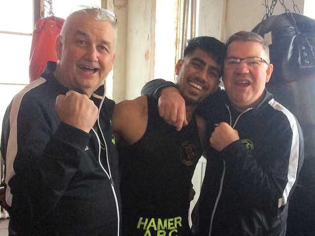 Monir Miah from Hamer Boxing Club with his coaches