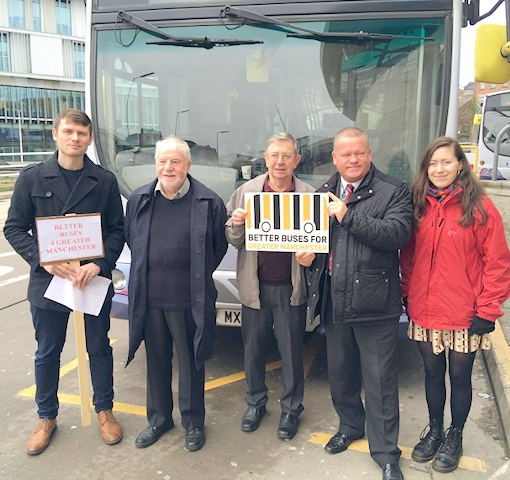Campaigners and councillors at Rochdale bus station: Andrew Pollitt, Rochdale Council Leader Allen Brett, John Wilkins, Councillor Phil Burke, Pascale Robinson