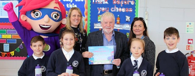 Councillor Allen Brett, Leader Rochdale Borough Council with pupils at St John's CE Thornham Primary School