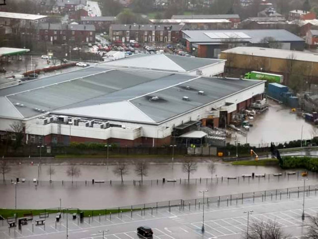 River Roch at the back of Asda in Rochdale town centre