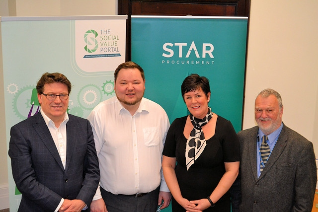 (L-R) Guy Battle (Social Value Portal), Cllr Andrew Western (Leader, Trafford Council),