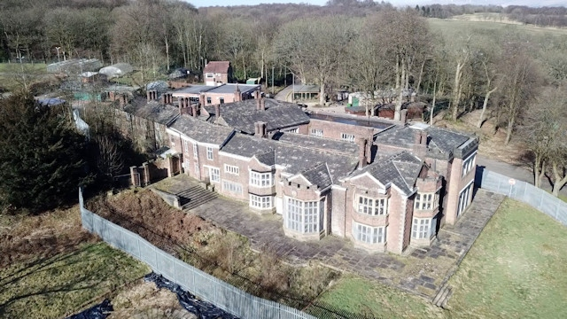An aerial view of Hopwood Hall Estate