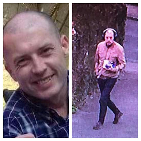 Mark Conroy was last seen in Rochdale (right) on 30 March