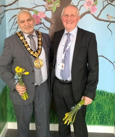 St Andrews Primary, Dearnley presented Mayor Mohammed Zaman and councillor Ashley Dearnley with daffodils they had grown