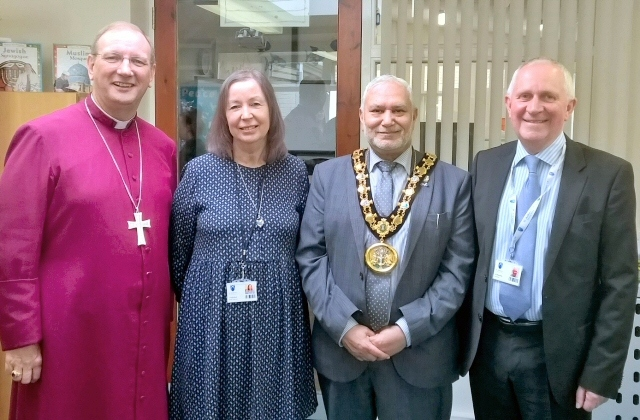 (L-R) The Bishop of Middleton, Mark Davies, Headteacher of St Andrews Primary School, Mrs J A Rainford, Mayor Mohammed Zaman and councillor Ashley Dearnley at the opening of the first floor extension at St Andrew's School, Dearnley