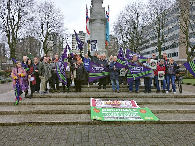 The Unison demonstration in Rochdale, protesting cuts to care support workers' pay