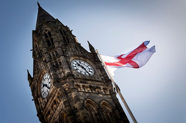 The Saint George cross will fly high above Rochdale on Tuesday 23 April