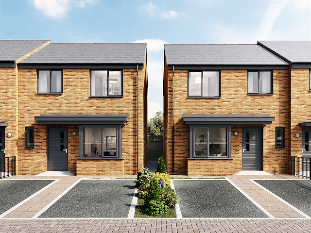CGI image of the new homes in Great Howarth