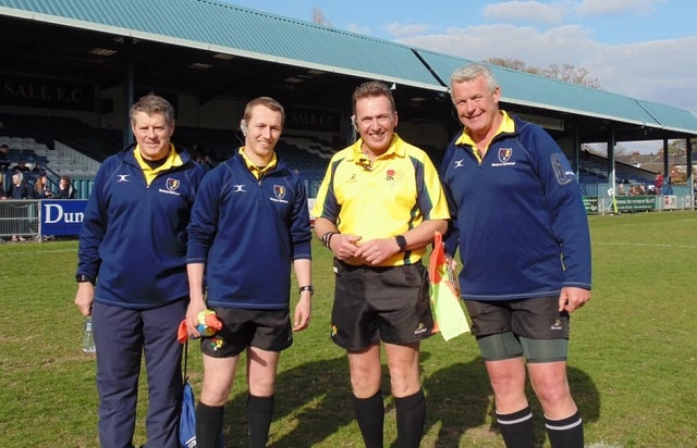 Mike Keiley, in the yellow, with his fellow officials in his first home international as England's Deaf side defeated Wales Deaf side