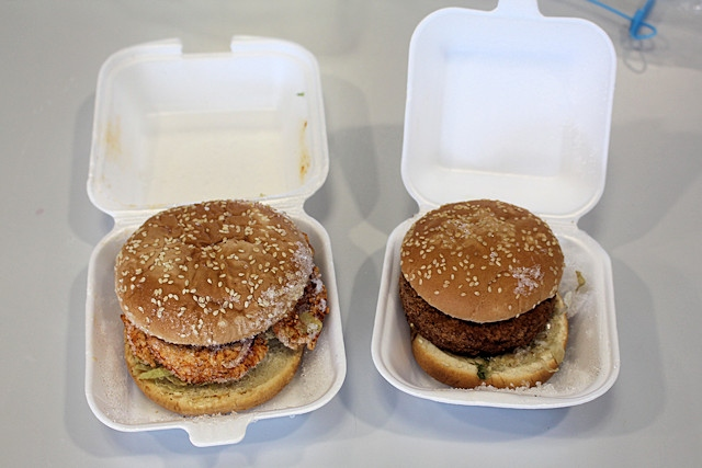 The two dishes that contained milk - a veggie burger and a peri peri burger