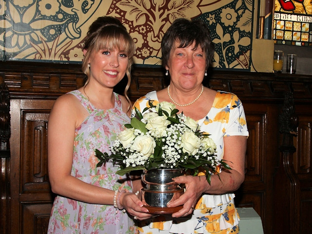 Woman of Rochdale 2019 Carole Kelly is presented with the award by last year's winner Marilyn Jones