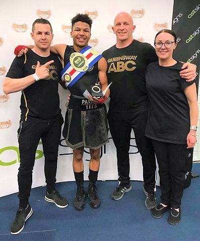 David Hodkinson, Parnell Lees with the Lonsdale belt, Gareth Pratt and Nicola Lees
