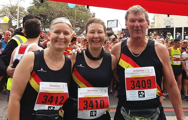Jackie and Richard Mason (centre and right) with fellow Rochdale Harrier Catherine Unwin (left) at the Malta Half Marathon