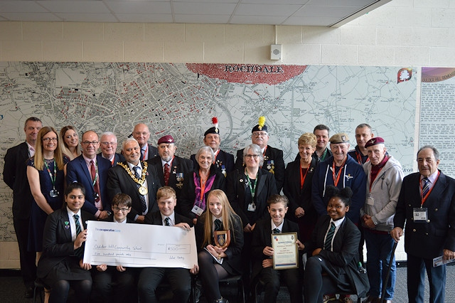 The ceremony was held at the school attended by the Mayor of Rochdale Councillor Zaman, the Deputy Lord Lieutenant, Ian Sandiford, Wing Commander David Forbes, President of the Rochdale Branch of the Legion, Norman Armstrong-Kersh, Chief Executive of Life for a Life, veterans from the Legion and governors of the school