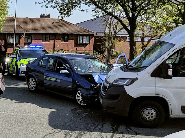 The car continued into Heywood and collided with a Peugeot Boxer van