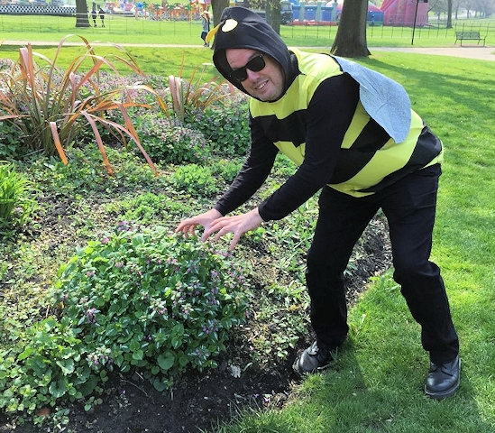 Alan Wright in his bumblebee outfit at Heaton Park