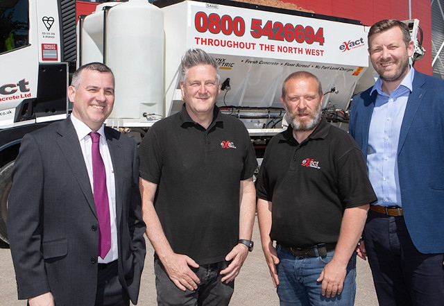 Left to right: James Prendergast, Assistant Relationship Manager Allied Irish Bank (GB) , Paul Sharples Exact Concrete Ltd Sales Manager , Gareth Hesketh Exact Concrete Ltd Director and Jonny Beckwith Allied Irish Bank (GB) Area Director Liverpool.