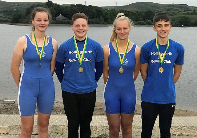 Tia Lenihan, Grace Darnbrough, Sam Harrage and George Tisdall, all Junior members of Hollingworth Lake Rowing Club