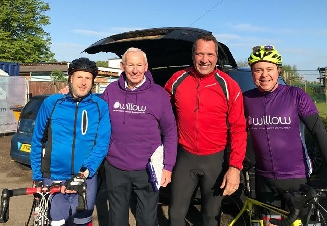 Michael, Greg's friend and training partner; Bob Wilson, former Arsenal & Scotland goalkeeper; David Seaman, Ex Arsenal and England goalkeeper and Greg Stuttle