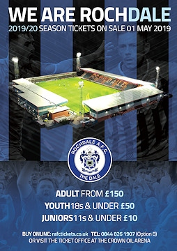 Rochdale AFC season tickets are now on sale - prices rise by £100 after Sunday 30 June