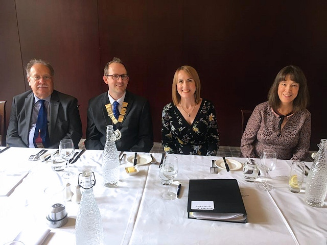 Zoe Clough pictured (right centre) with outgoing President Ben Leach (left centre), Roger Addington, Honorary Secretary and Louise Salisbury, Head of AST Hampsons Wills & Probate team and former Rochdale Law Association President (2011-2012)