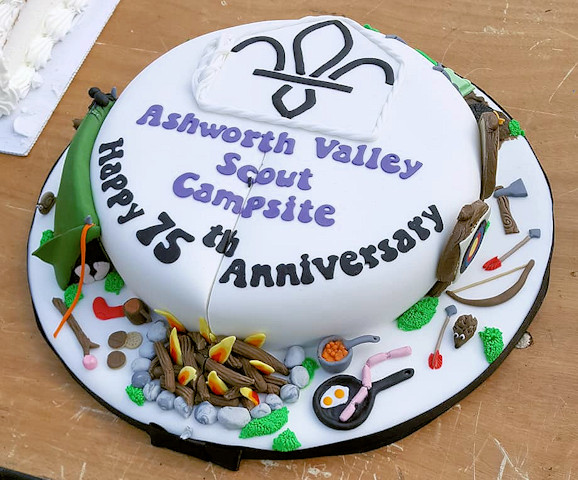 A camping cake for the 75th anniversary of Ashworth Valley Campsite