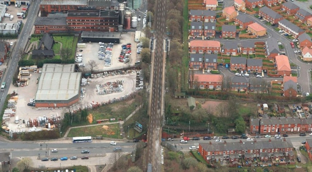 An aerial view of Mills Hill Railway Station