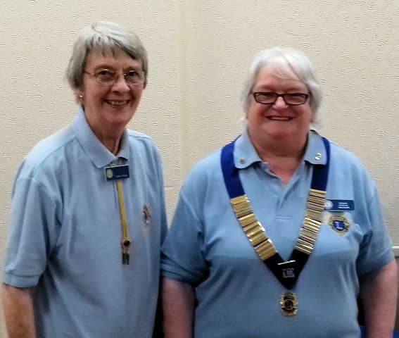 Heywood Lions Club, Lion Irene Sagar handing over to incoming President Lion Vera Smith