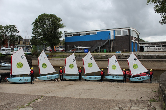 Six Qube Sailing boats with the Greenbank pupils they are named after