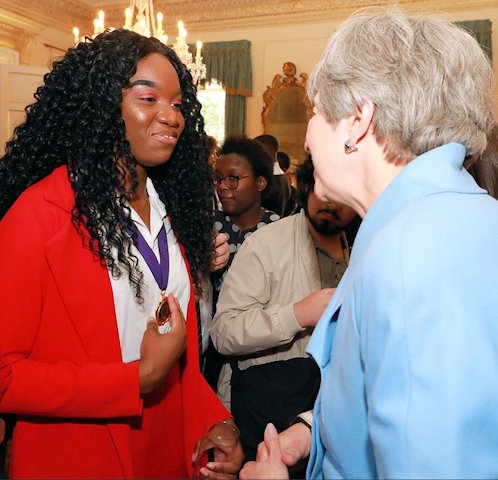 Rochdale Member of Youth Parliament, Anita Okunde with Prime Minister, Theresa May