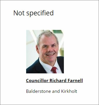 A screenshot from the Rochdale Council web site showing the party Councillor Richard Farnell is linked to as 'not specified'
