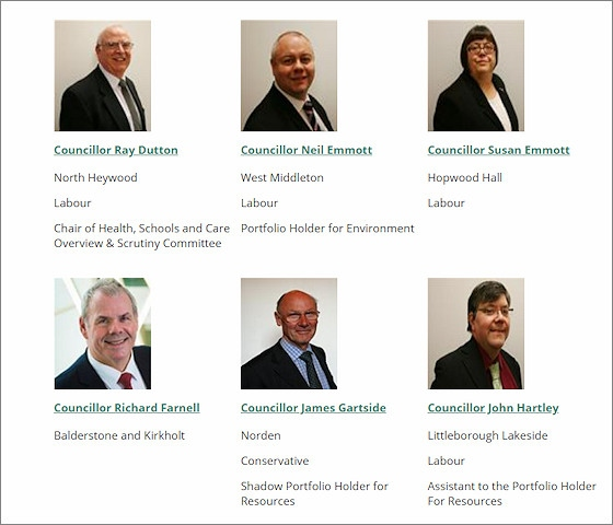 A screenshot from the Rochdale Council web site with no party listed for Councillor Richard Farnell