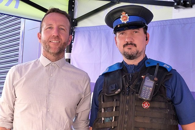 Paul Ambrose, BID Manager, and PCSO Nick McNeill at a BID event in 2019