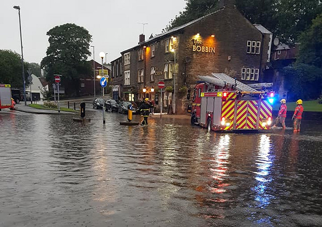 Flooding outside the Tim Bobbin in Milnrow in July 2019